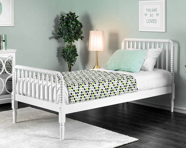 Furniture of America Jenny White Twin Bed FOA-CM7741WH-T-BED