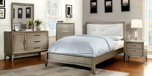 Snyder II Contemporary Gray Leatherette Solid Wood Master Bedroom Set FOA-CM7782-BR