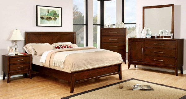 Snyder Transitional Brown Cherry Solid Wood Master Bedroom Set FOA-CM7792-BR