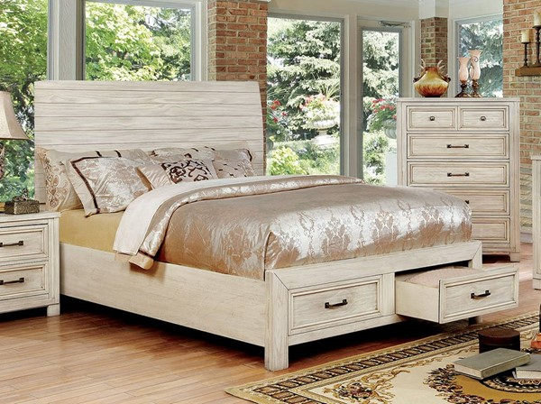 Furniture of America Deann Antique White Cal King Bed FOA-CM7806WH-CK-BED