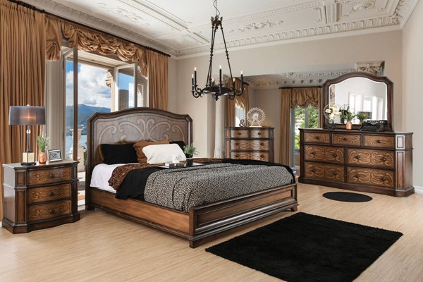 Emmaline Transitional Chestnut Solid Wooden Headboard Queen Bed FOA-CM7831Q-BED