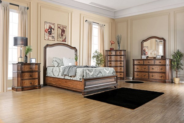 Emmaline Chestnut Fabric Solid Wood Fabric Headboard Cal King Bed FOA-CM7831F-CK-BED