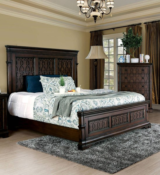 Minerva Transitional Walnut Solid Wood Beds FOA-CM7839-BED-VAR