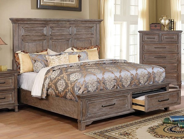Furniture of America Oberon Rustic Oak King Bed FOA-CM7845EK-BED