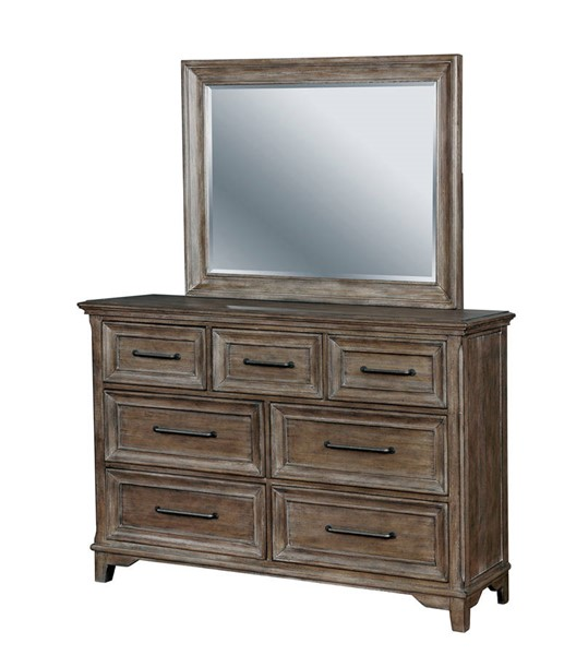 Furniture of America Oberon Rustic Oak Dresser and Mirror FOA-CM7845-DRMR
