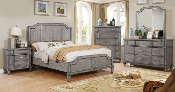 Ganymede Transitional Gray Solid Wood Master Bedroom Set FOA-CM785-BR