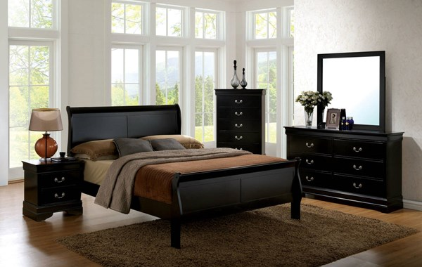 Louis Philippe III Black Cherry Gray Solid Wood Master Bedroom Set FOA-CM7866-BR