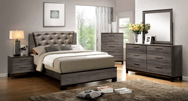 Manvel Antique Gray Solid Wood Leatherette Master Bedroom Set FOA-CM7867-BR