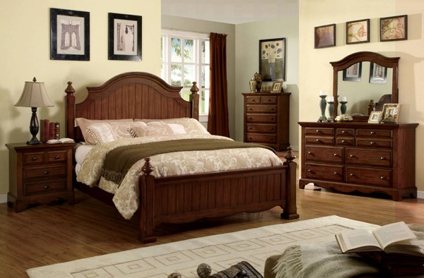 Palm Coast Classic Light Walnut Solid Wood Master Bedroom Set FOA-CM7888-BR