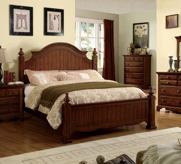 Palm Coast Classic Light Walnut Solid Wood Queen Bed FOA-CM7888Q-BED