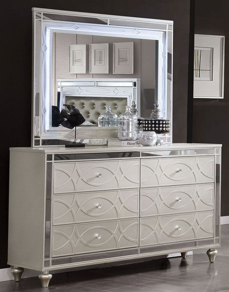 Furniture Of America Manar Silver Dresser And Mirror FOA-CM7891-DRMR