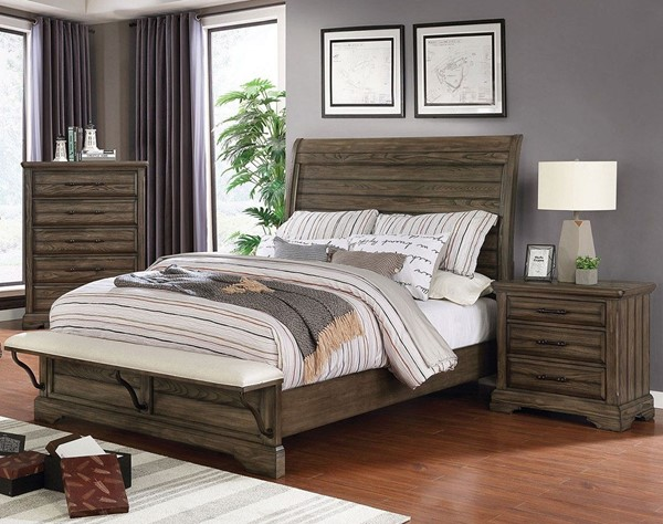 Furniture Of America Gilbert Light Walnut 2pc Bedroom Set with Queen Bed FOA-CM7894-BR-S1