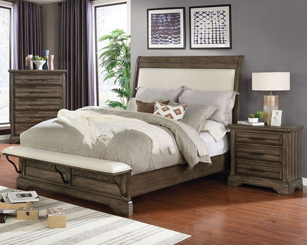 Furniture Of America Gilbert Light Walnut 2pc Bedroom Set with King Upholstered Bed FOA-CM7894-BR-S5