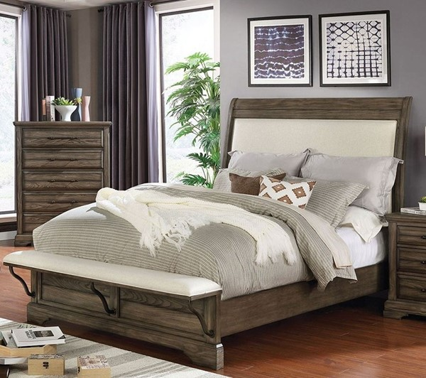 Furniture Of America Gilbert Light Walnut Upholstered Beds FOA-CM7894F-BEDS