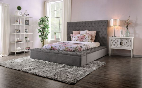 Furniture Of America Davida Gray Cal King Bed FOA-CM7897GY-CK-BED