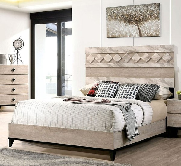 Furniture Of America Elaina Beige Espresso Queen Bed FOA-CM7898Q-BED