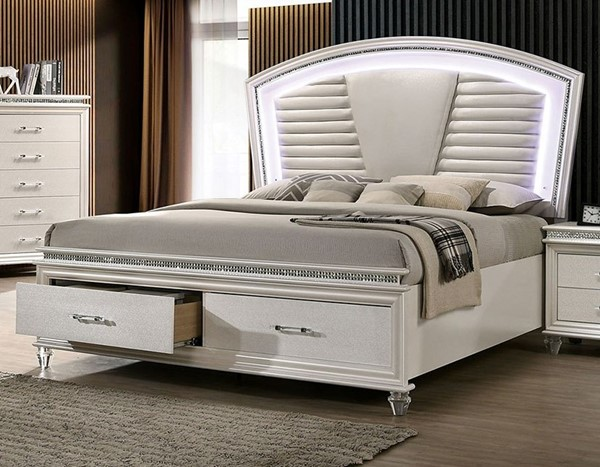 Furniture of America Maddie Pearl White Cal King Bed FOA-CM7899CK-BED