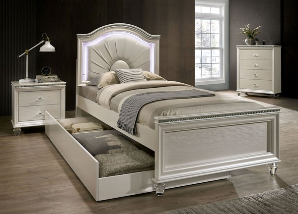 Furniture Of America Allie Pearl White Beds FOA-CM7901-BEDS