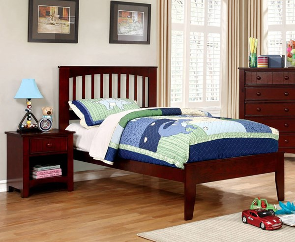 Furniture of America Pine Brook Cherry 2pc Bedroom Set with Twin Bed FOA-CM7908CH-T-KBR-S1