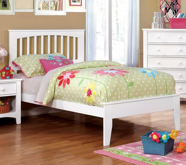 Furniture of America Pine Brook White Twin Bed FOA-CM7908WH-T-BED