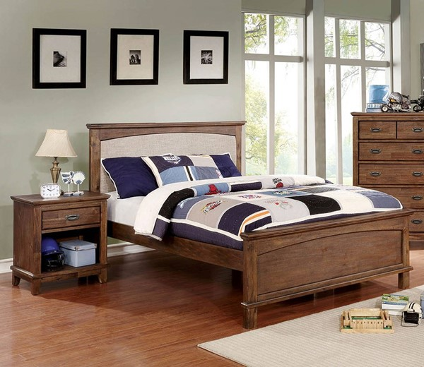 Furniture of America Colin Fabric 2pc Kids Bedroom Set with Full Bed FOA-CM7909A-P-F-KBR-S2