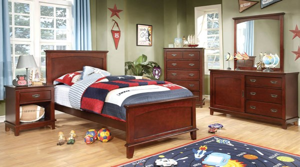 Colin Transitional Cherry White Solid Wood Kids Bedroom Set FOA-CM7909-KBR