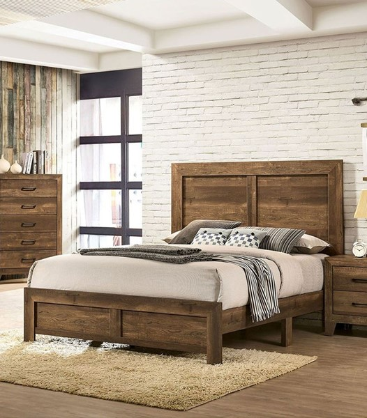 Furniture of America Wentworth Rustic Light Walnut Beds FOA-CM7912-BEDS-VAR