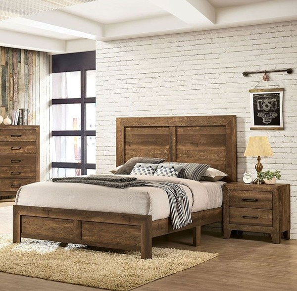 Furniture Of America Wentworth Rustic, Walnut Queen Bed Set