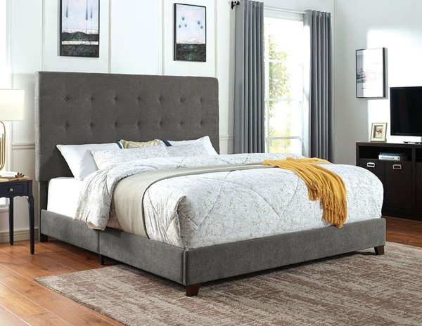 Furniture of America Carroll Gray Faux Leather King Bed FOA-CM7915EK