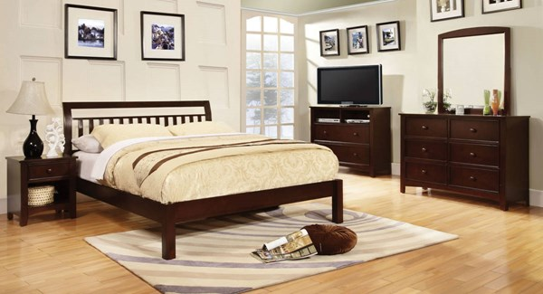 Corry Transitional Dark Walnut Solid Wood Cal King Bed FOA-CM7923EX-CK-BED