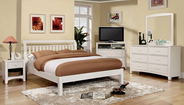 Corry Transitional White Solid Wood Queen Bed FOA-CM7923WH-Q-BED