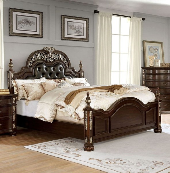 Furniture of America Theodor Brown Cherry Espresso Cal King Bed FOA-CM7926CK-BED