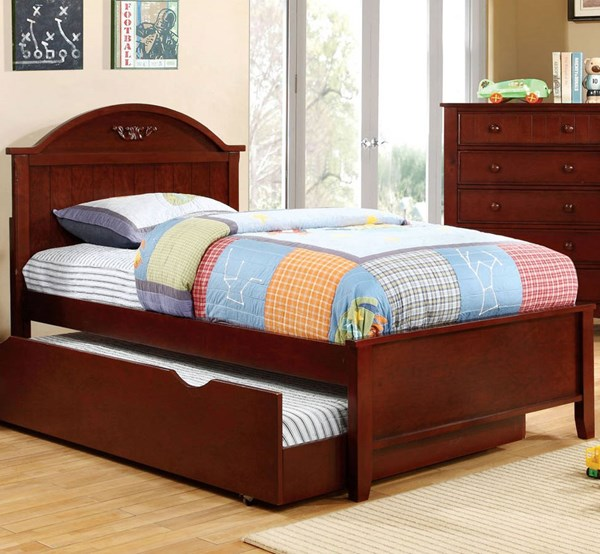 Furniture of America Medina Cherry Twin Trundle Bed FOA-CM7942CH-T-TRBED