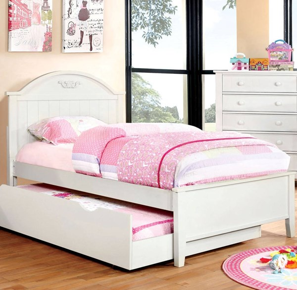 Furniture of America Medina White Twin Trundle Bed FOA-CM7942WH-T-TRBED