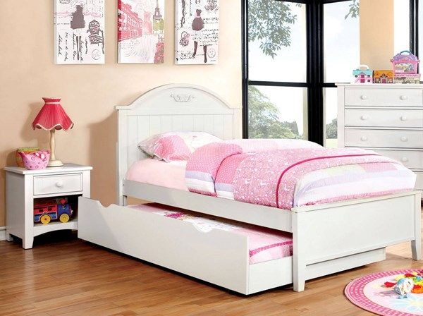 Furniture of America Medina White 2pc Bedroom Set with Twin Trundle Bed FOA-CM7942WH-T-KBR-S2
