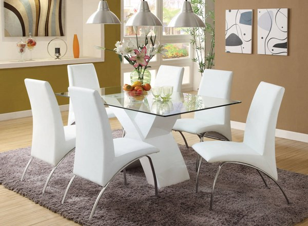 Furniture of America Wailoa White Glass Top Dining Table FOA-CM8370WH-T-TABLE