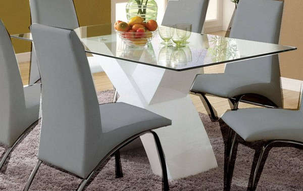 Furniture of America Wailoa White Dining Table With Clear Glass Top FOA-CM8370WH-T-TABLE