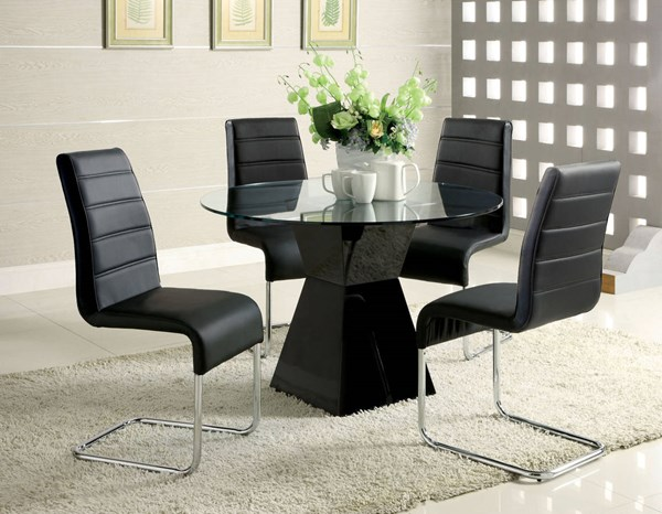 Furniture of America Mauna Black Round Dining Table FOA-CM8371BK-T-TABLE