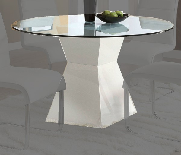 Furniture of America Mauna White Round Dining Table FOA-CM8371WH-T-TABLE