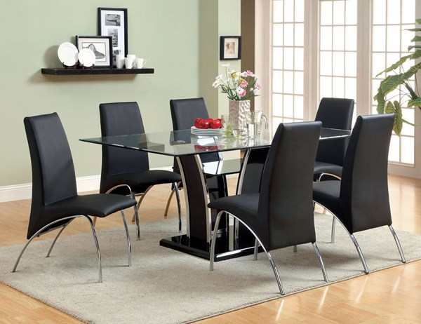Furniture of America Glenview Black Glass Top Dining Table FOA-CM8372BK-T-TABLE