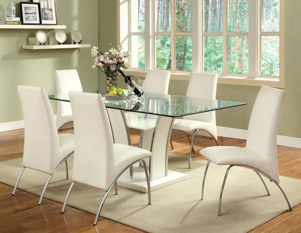 Furniture of America Glenview White Glass Top Dining Table FOA-CM8372WH-T-TABLE
