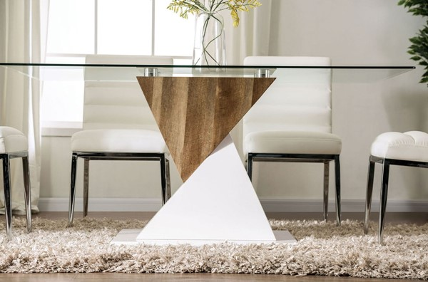 Furniture Of America Bima White Natural Tone Dining Table FOA-FOA3746T-TABLE