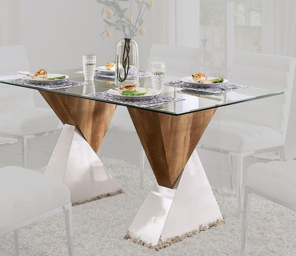 Furniture Of America Binjai White Natural Tone Dining Table FOA-FOA3747T-TABLE