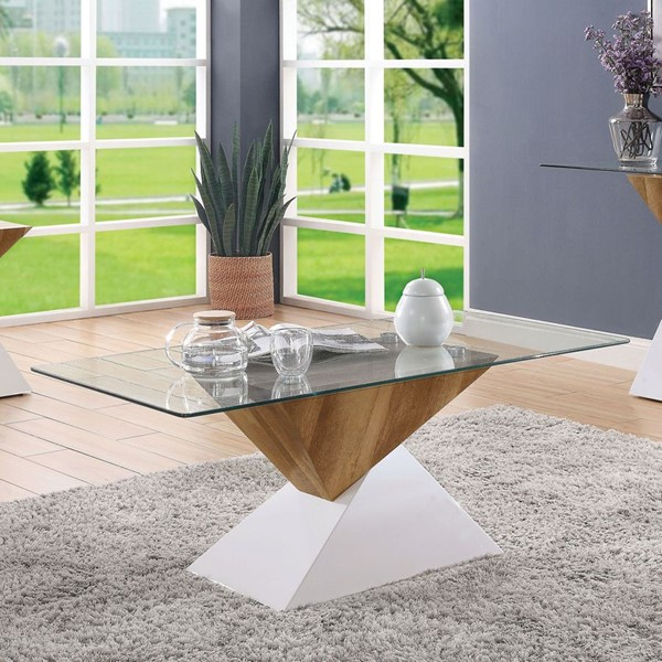 Furniture Of America Bima II White Natural Tone Coffee Table FOA-FOA4746C-TABLE