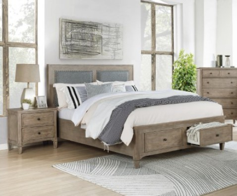 Furniture Of America Anneke Wire Brushed Warm Gray 2pc Bedroom Set with King Bed FOA-7173-BR-S2