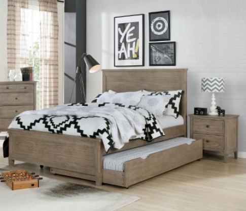 Furniture Of America Vevey Wire Brushed Warm Gray 2pc Kids Bedroom Set with Full Bed FOA-7175-KBR-S2