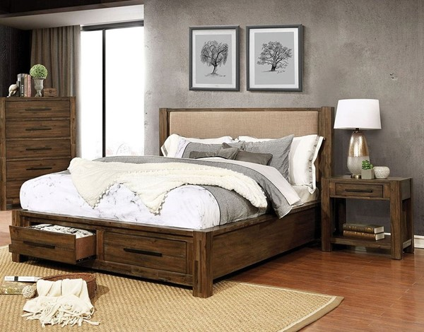 Furniture Of America Coney Walnut Tan 2pc Bedroom Set with Queen Bed FOA-FOA7881-BR-S2