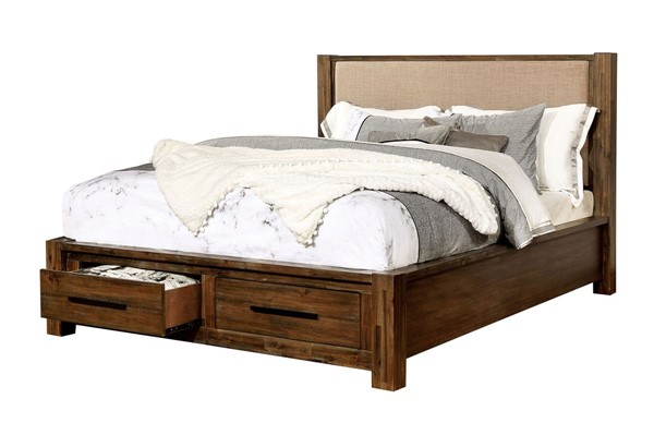 Furniture Of America Coney Walnut Tan Full Bed FOA-FOA7881F-BED