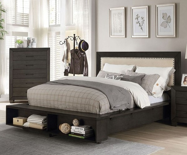 Furniture Of America Sligo Dark Gray Beige Queen Bed FOA-FOA7893Q-BED