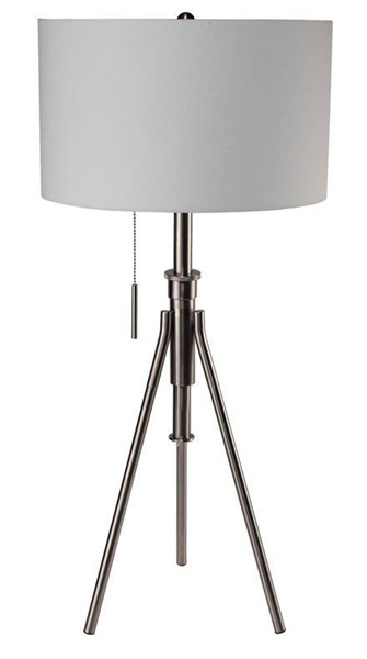 Furniture of America Zaya Brushed Steel Table Lamp FOA-L731171T-SV